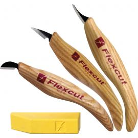 Coltelli per intaglio legno con pasta lucidante Flexcut Slim-Handle Detail Knife Set carving