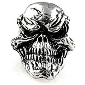 Blocchetto per laccetto Schmuckatelli Co Grins Skull Bead Pewter