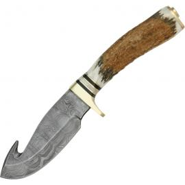 Damascus Guthook Skinner Stag Handle