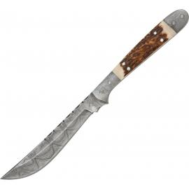 Damascus Navaja Hunter Stag Handle